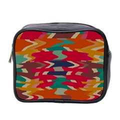Retro Colors Distorted Shapes Mini Toiletries Bag (two Sides) by LalyLauraFLM