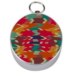 Retro Colors Distorted Shapes Silver Compass by LalyLauraFLM