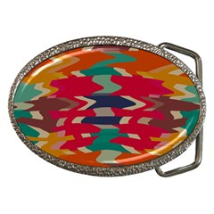 Retro Colors Distorted Shapes			belt Buckle by LalyLauraFLM
