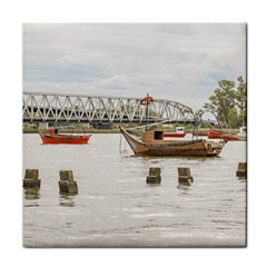 Boats At Santa Lucia River In Montevideo Uruguay Tile Coasters by dflcprints