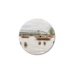 Boats At Santa Lucia River In Montevideo Uruguay Golf Ball Marker (10 Pack) by dflcprints