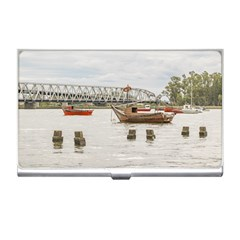 Boats At Santa Lucia River In Montevideo Uruguay Business Card Holders by dflcprints