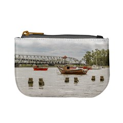 Boats At Santa Lucia River In Montevideo Uruguay Mini Coin Purses by dflcprints