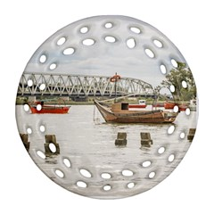 Boats At Santa Lucia River In Montevideo Uruguay Round Filigree Ornament (2side) by dflcprints