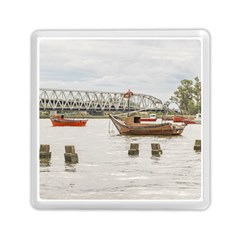 Boats At Santa Lucia River In Montevideo Uruguay Memory Card Reader (square)  by dflcprints