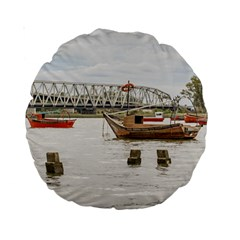 Boats At Santa Lucia River In Montevideo Uruguay Standard 15  Premium Round Cushions by dflcprints