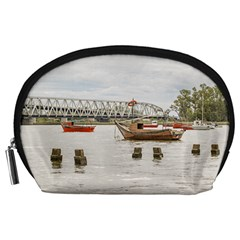 Boats At Santa Lucia River In Montevideo Uruguay Accessory Pouches (large)  by dflcprints