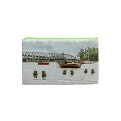 Boats At Santa Lucia River In Montevideo Uruguay Cosmetic Bag (xs) by dflcprints