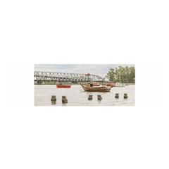 Boats At Santa Lucia River In Montevideo Uruguay Satin Scarf (oblong) by dflcprints