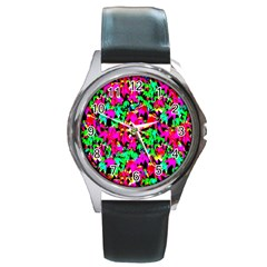 Colorful Leaves Round Metal Watches by Costasonlineshop