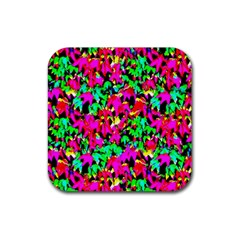 Colorful Leaves Rubber Coaster (square)  by Costasonlineshop