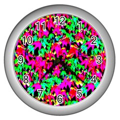 Colorful Leaves Wall Clocks (silver)  by Costasonlineshop