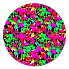 Colorful Leaves Magnet 5  (round) by Costasonlineshop