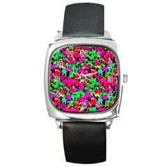 Colorful Leaves Square Metal Watches by Costasonlineshop