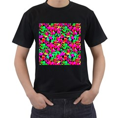 Colorful Leaves Men s T Shirt (black) (two Sided)