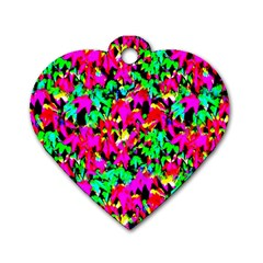 Colorful Leaves Dog Tag Heart (one Side) by Costasonlineshop