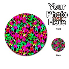 Colorful Leaves Multi Purpose Cards (round)  by Costasonlineshop