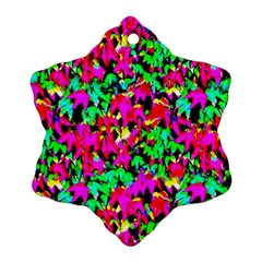 Colorful Leaves Snowflake Ornament (2 Side) by Costasonlineshop