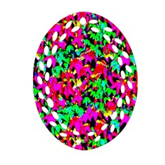 Colorful Leaves Ornament (oval Filigree)  by Costasonlineshop