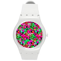 Colorful Leaves Round Plastic Sport Watch (m) by Costasonlineshop