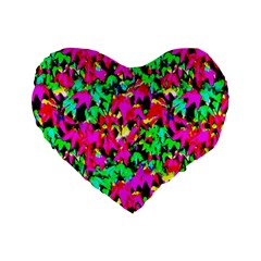 Colorful Leaves Standard 16  Premium Heart Shape Cushions by Costasonlineshop