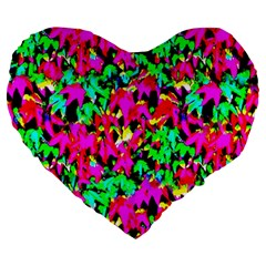 Colorful Leaves Large 19  Premium Heart Shape Cushions by Costasonlineshop