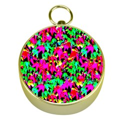 Colorful Leaves Gold Compasses by Costasonlineshop