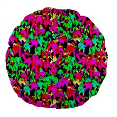 Colorful Leaves Large 18  Premium Flano Round Cushions by Costasonlineshop