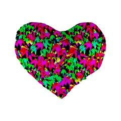 Colorful Leaves Standard 16  Premium Flano Heart Shape Cushions by Costasonlineshop