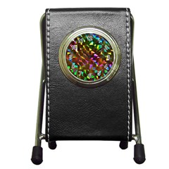 Cool Glitter Pattern Pen Holder Desk Clocks