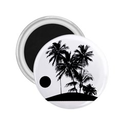 Tropical Scene Island Sunset Illustration 2 25  Magnets by dflcprints
