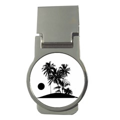 Tropical Scene Island Sunset Illustration Money Clips (round)  by dflcprints
