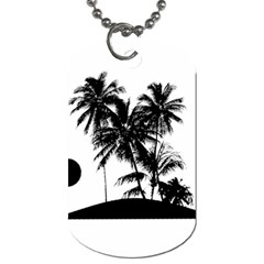 Tropical Scene Island Sunset Illustration Dog Tag (one Side) by dflcprints