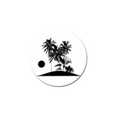 Tropical Scene Island Sunset Illustration Golf Ball Marker (4 Pack) by dflcprints