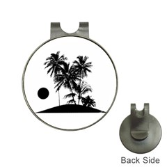 Tropical Scene Island Sunset Illustration Hat Clips With Golf Markers by dflcprints