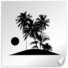 Tropical Scene Island Sunset Illustration Canvas 12  X 12   by dflcprints