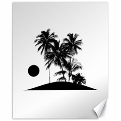 Tropical Scene Island Sunset Illustration Canvas 16  X 20   by dflcprints