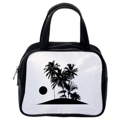Tropical Scene Island Sunset Illustration Classic Handbags (one Side) by dflcprints