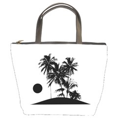Tropical Scene Island Sunset Illustration Bucket Bags by dflcprints