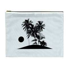 Tropical Scene Island Sunset Illustration Cosmetic Bag (xl) by dflcprints