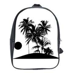 Tropical Scene Island Sunset Illustration School Bags(Large)  by dflcprints