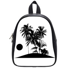 Tropical Scene Island Sunset Illustration School Bags (small)  by dflcprints