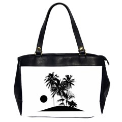 Tropical Scene Island Sunset Illustration Office Handbags (2 Sides)  by dflcprints