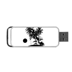 Tropical Scene Island Sunset Illustration Portable USB Flash (Two Sides)