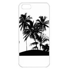 Tropical Scene Island Sunset Illustration Apple Iphone 5 Seamless Case (white) by dflcprints