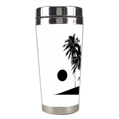 Tropical Scene Island Sunset Illustration Stainless Steel Travel Tumblers by dflcprints