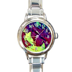 Abstract Painting Blue,yellow,red,green Round Italian Charm Watches by Costasonlineshop