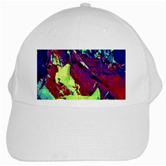 Abstract Painting Blue,yellow,red,green White Cap