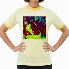 Abstract Painting Blue,yellow,red,green Women s Fitted Ringer T Shirts by Costasonlineshop