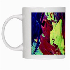 Abstract Painting Blue,yellow,red,green White Mugs by Costasonlineshop